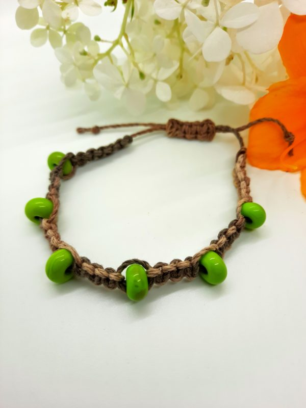 Forest - lime green glass beads in variegated natural hemp cord bracelet