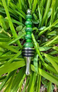 Forest green gold swirl bottle stopper