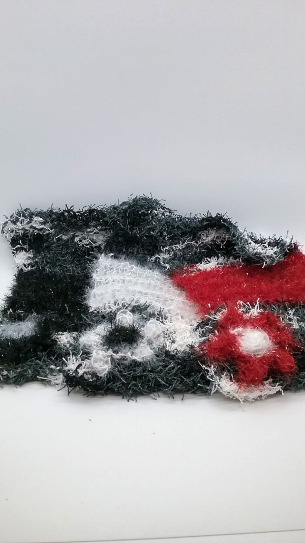 Gray black with red, white and black dishcloths-multi