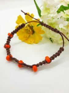 Habanero - orange glass beads in brown hemp