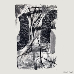An abstract charcoal drawing on vellum by Kimberly Wetzel