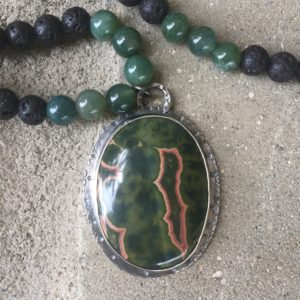Red/GreenCoin Jasper Necklace