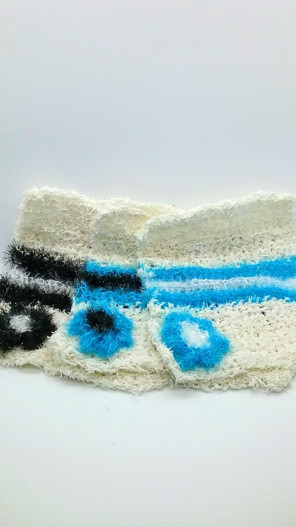 Ivory with ice blue, white and black dishcloths-solid