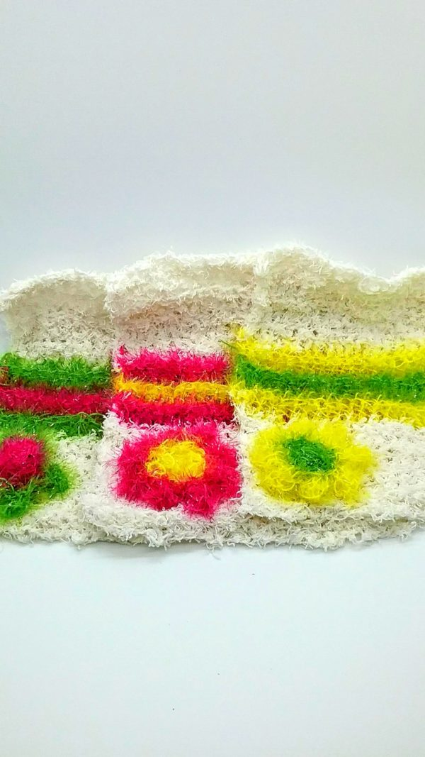 Ivory with pink, yellow and green dishcloths-solid