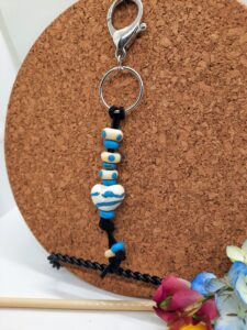 Ivory with turquoise heart - keychain