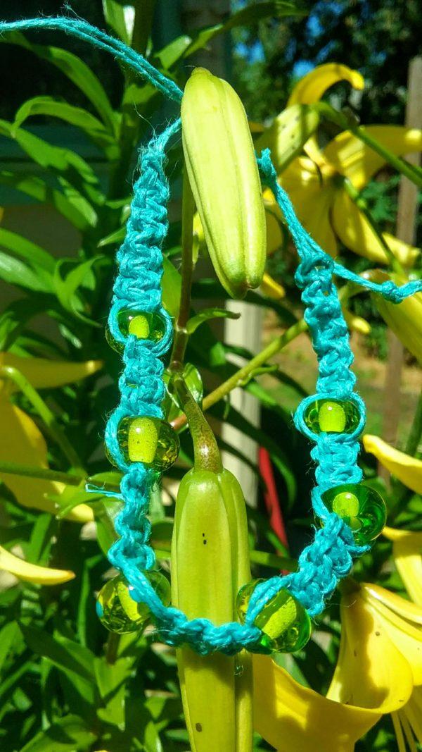 Key West grass glass beads in teal hemp