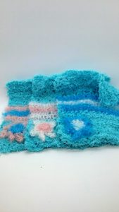 Light blue with light pink and white striped dishcloths-solid