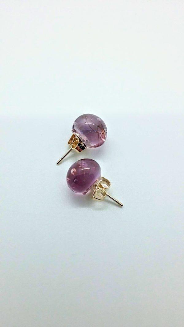 Lavender (transparent) glass post earrings