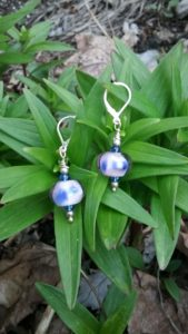 Lavender with cobalt blue dots glass beads earrings