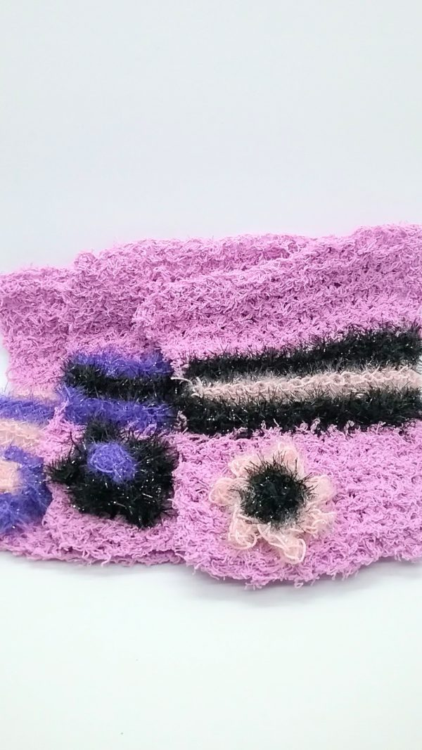 Lavender with purple, light pink and black dishcloths-solid