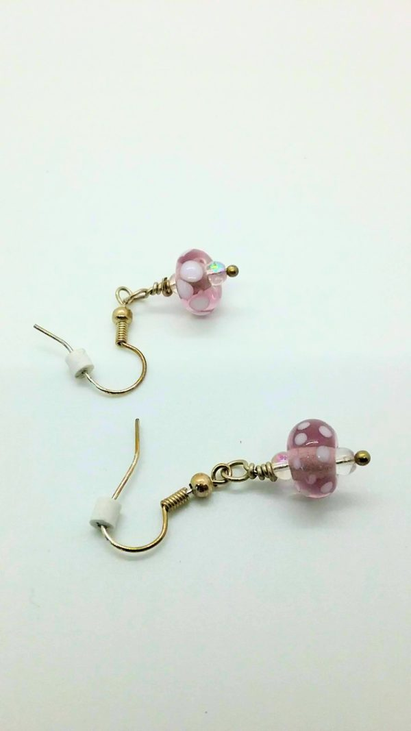 Lavender with white dots glass bead earrings