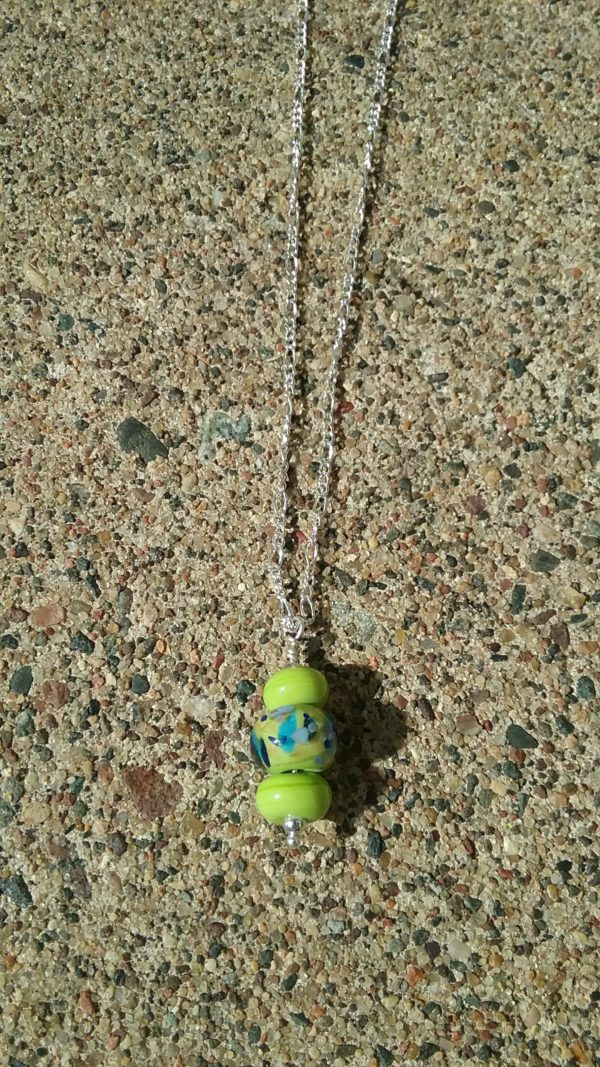 Lime and blue pendant on silver chain necklace