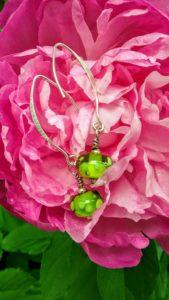 Lime dot hanging earrings