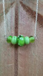 Lime glass beads on silver chain necklace