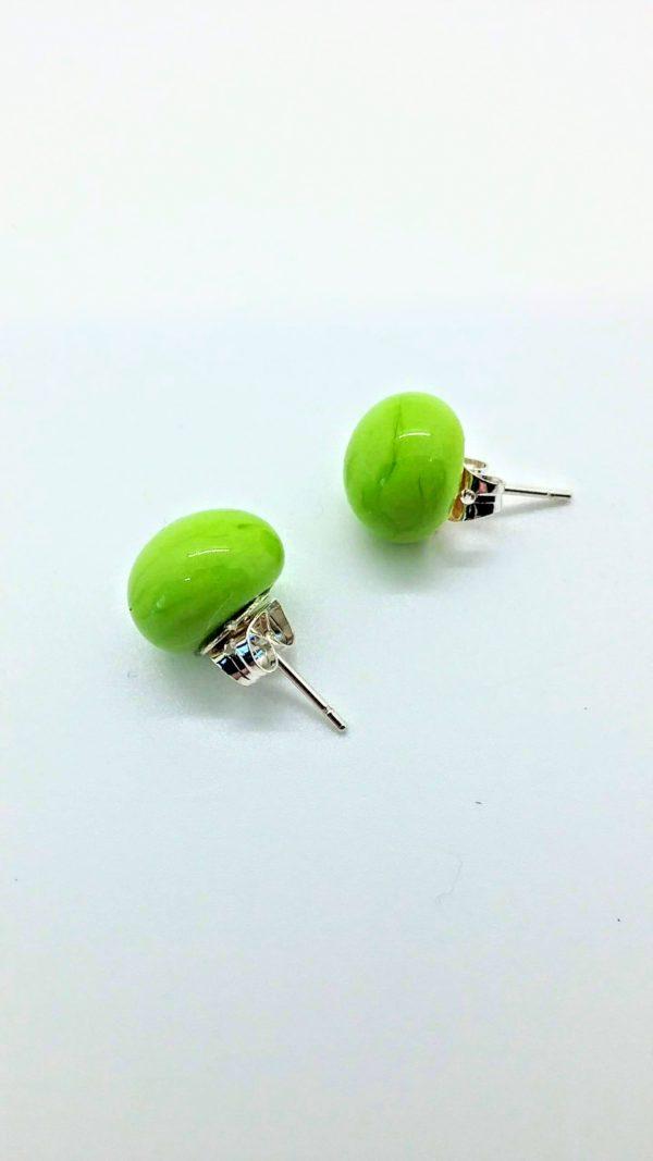Lime green glass post/stud earrings