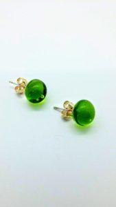 Transparent lime glass post/stud earrings.