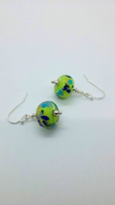 Lime with blues glass bead earrings