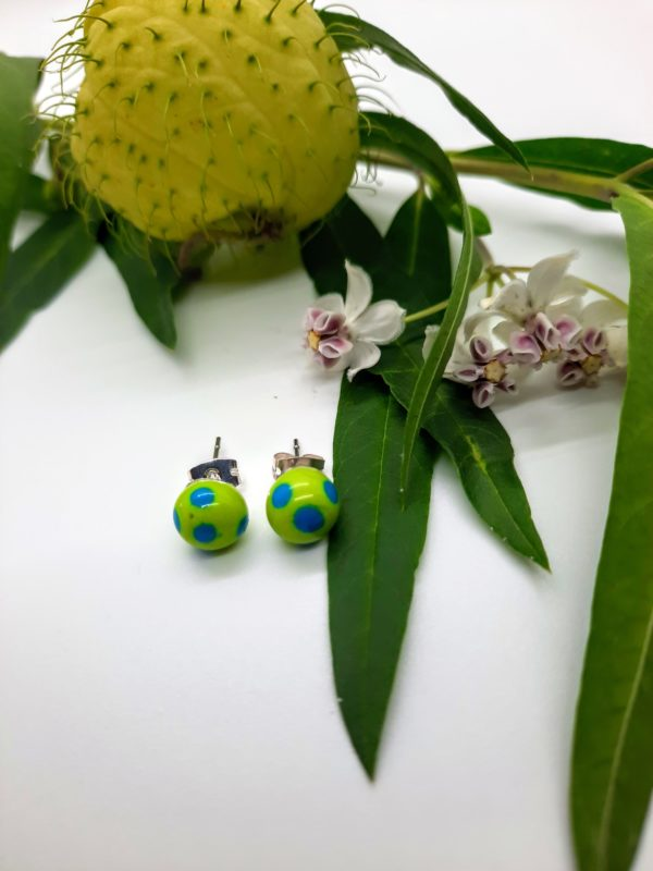 Dots - lime on turquoise post earrings