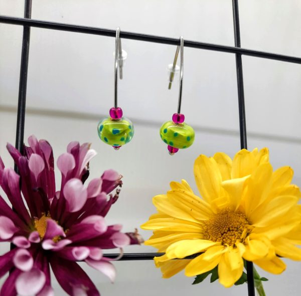 Lime with turquoise dotty silver hook earrings