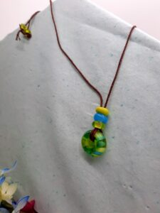 Lime and turquoise large tactile - necklace