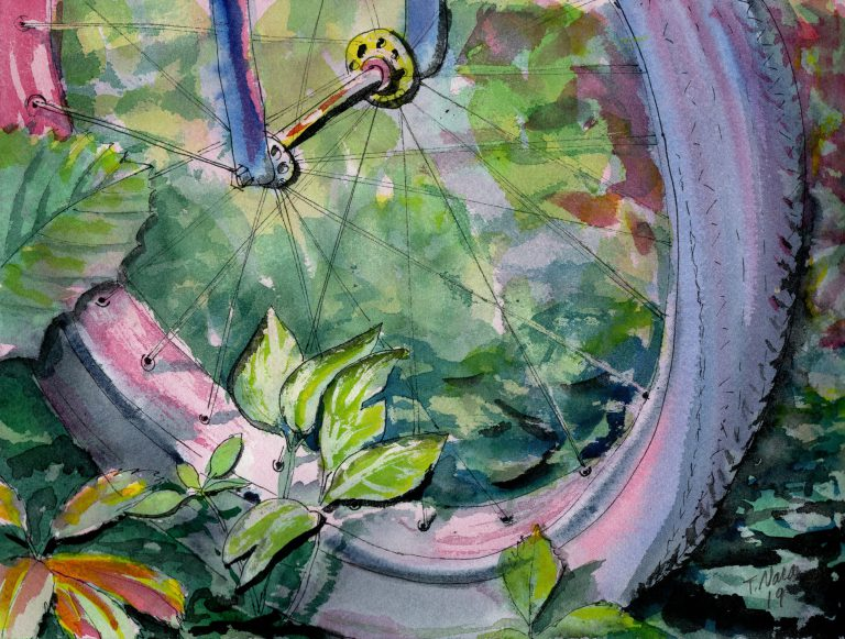 painting of bike tire and plants