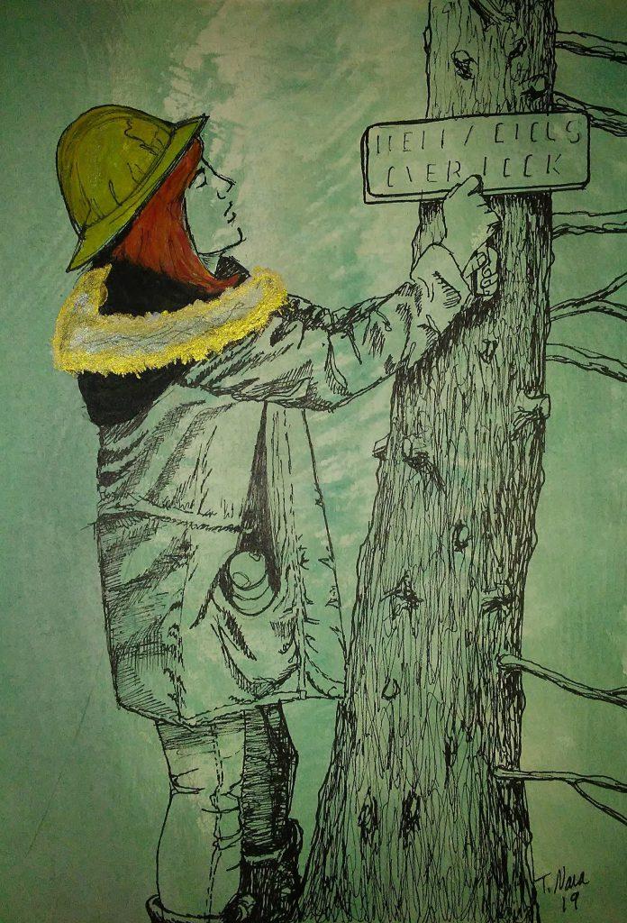 drawing of trail maintenance volunteer