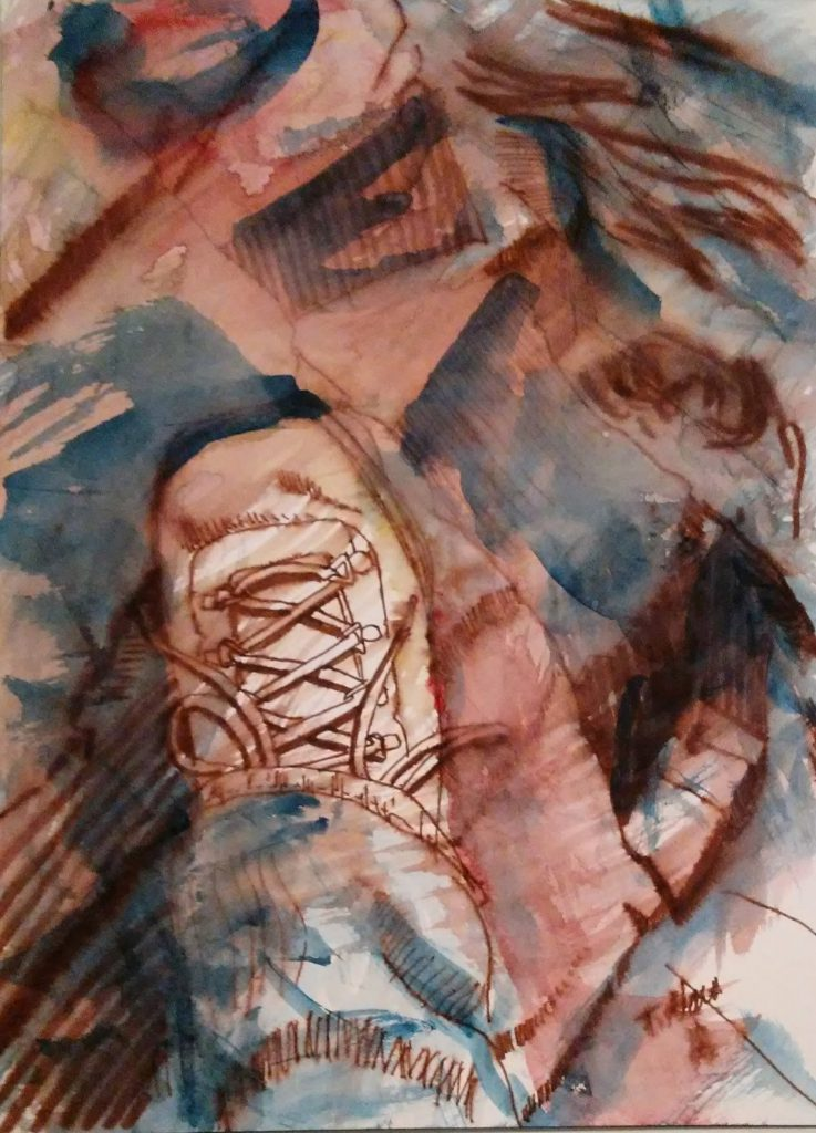painting of hiking boot