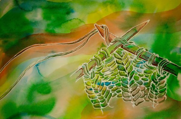 green painting of knitting