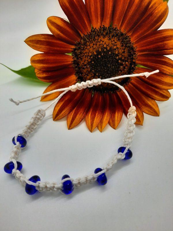 Nautical - cobalt blue glass beads in white hemp cord bracelet
