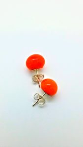 Orange glass post earrings