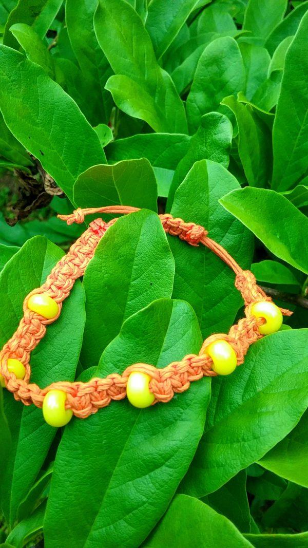 Sunshine - yellow glass beads in orange hemp