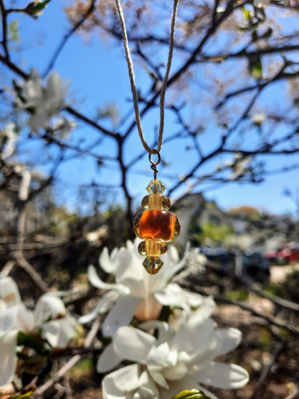 Orange and amber ale natural hemp necklace
