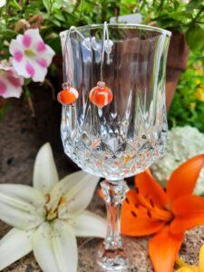 Orange cream stripe silver hook earring