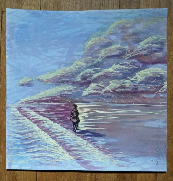 Painting of a person walking on a beach