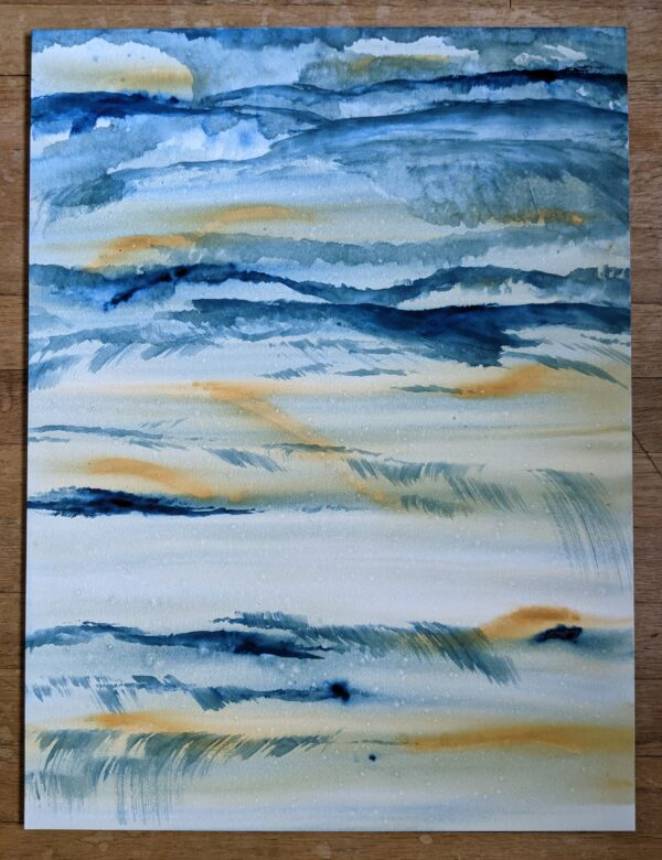 painting horizontal blue and yellow watery lines