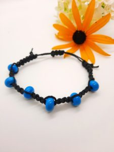 Peace 2 - turquoise glass beads in black hemp bracelet