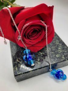 Peri blues silver chain drop earrings