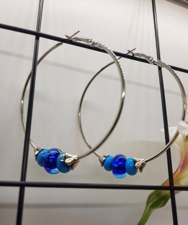 Turquoise and cobalt blue medium silver hoop earrings