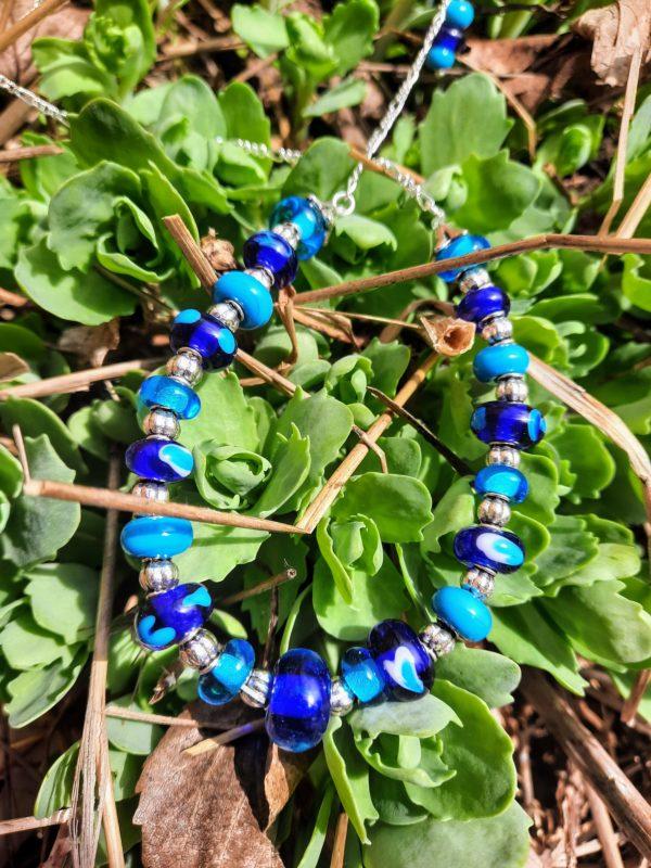 Peri blues cobalt turquoise barrel necklace