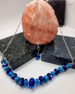 Peri blues silver box necklace