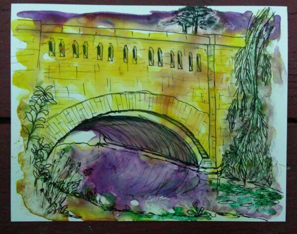 yellow bridge painting