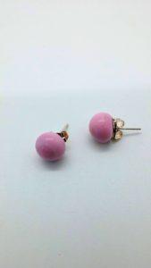 Pink glass post earrings