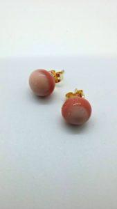 Swirly pink glass post/stud earrings