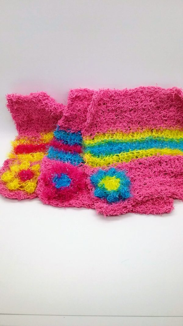 Pink with blue and yellow stripes dishcloth-solid