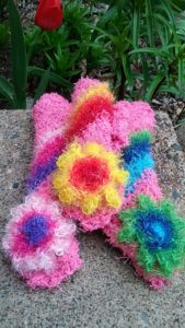 Pink with rainbows dishcloths-solid