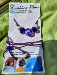 Pink, cobalt blue and amethyst in purple hemp necklace