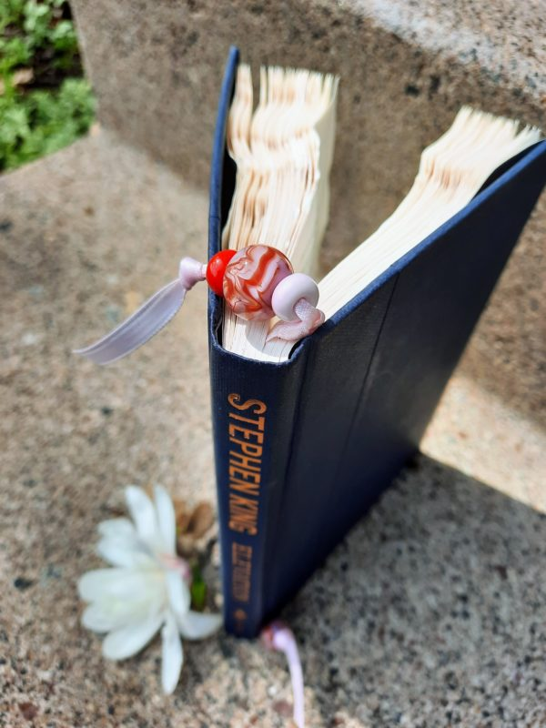 Pink with red swirl bookmark