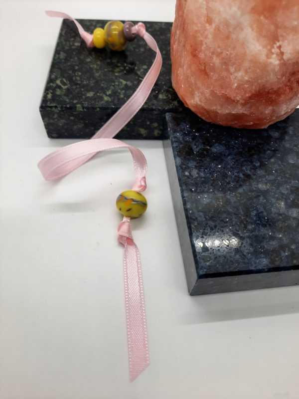 Bookmark - Pink with purple and yellow beads