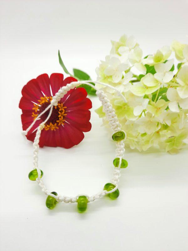 Poison Ivy - grass green glass beads in white hemp cord bracelet