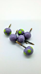 Purple with lime dots glass push pins